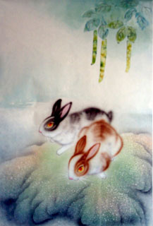 Chinese Rabbit Painting,43cm x 65cm,4351018-x