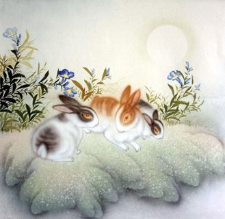 Chinese Rabbit Painting,66cm x 66cm,4351019-x