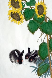 Chinese Rabbit Painting,69cm x 46cm,4449019-x
