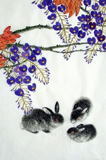 Chinese Rabbit Painting,69cm x 46cm,4449020-x