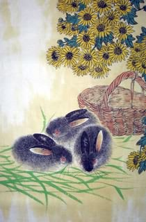 Chinese Rabbit Painting,69cm x 46cm,4449021-x