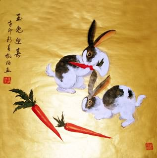 Chinese Rabbit Painting,66cm x 66cm,4473001-x