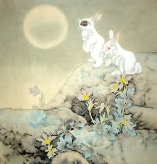 Chinese Rabbit Paintings, China Rabbit Art Scrolls, Pictures