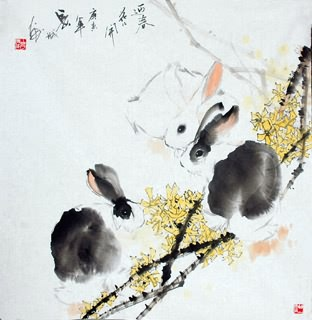 Chinese Rabbit Painting,69cm x 69cm,4619001-x