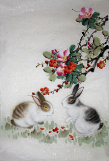Chinese Rabbit Painting,69cm x 46cm,4620012-x
