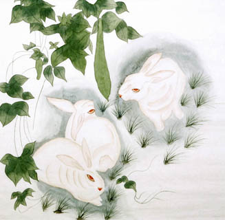 Chinese Rabbit Painting,66cm x 66cm,4680002-x