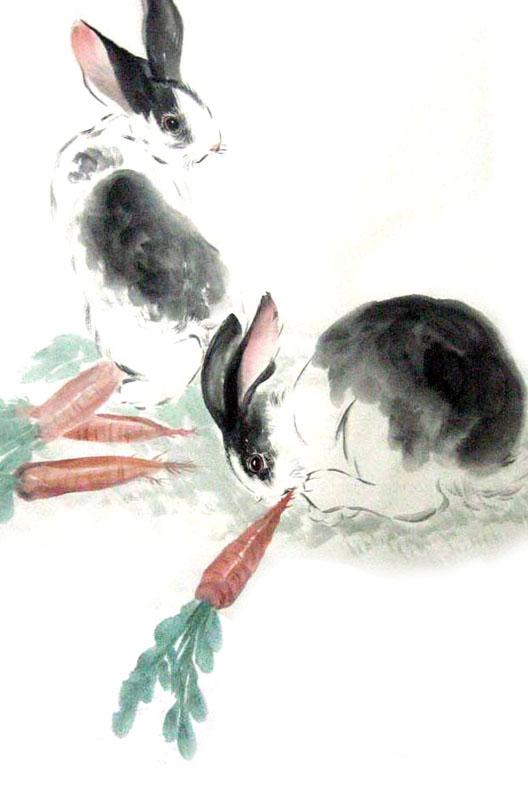 Chinese Rabbit Painting 0 4805004 69cm X 46cm 27〃 X 18〃