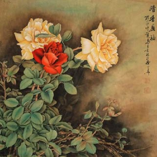 Chinese Rose Painting,66cm x 66cm,2319034-x