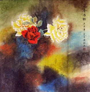 Chinese Rose Painting,66cm x 66cm,2319078-x