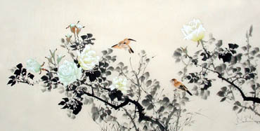 Chinese Rose Painting,66cm x 136cm,2322015-x