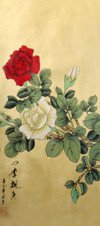 Chinese Rose Painting,25cm x 45cm,2336055-x