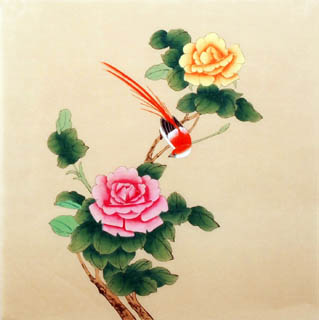 Chinese Rose Painting,40cm x 40cm,2340031-x