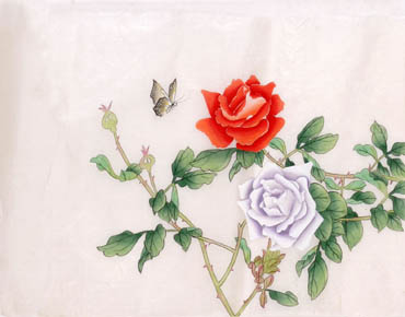 Chinese Rose Painting,28cm x 35cm,2340054-x