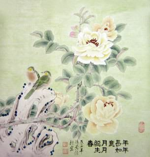 Chinese Rose Painting,66cm x 66cm,2409002-x