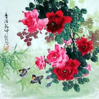 Chinese Rose Painting,69cm x 69cm,2418001-x