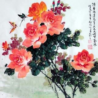 Chinese Rose Painting,69cm x 69cm,2418002-x