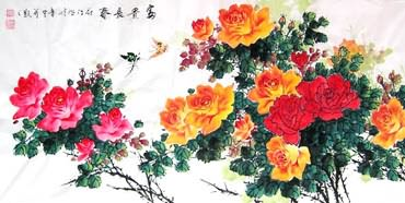 Chinese Rose Painting,66cm x 136cm,2418003-x