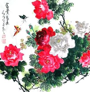 Chinese Rose Painting,69cm x 69cm,2418004-x