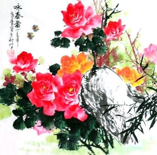 Chinese Rose Painting,69cm x 69cm,2418005-x