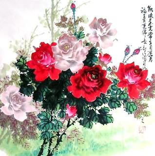 Chinese Rose Painting,69cm x 69cm,2418006-x