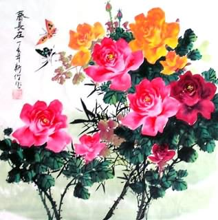 Chinese Rose Painting,69cm x 69cm,2418008-x