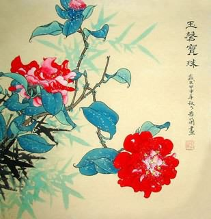 Chinese Rose Painting,50cm x 50cm,2419002-x