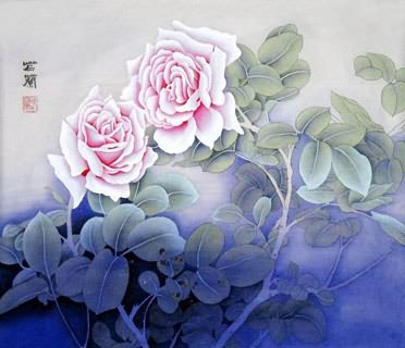 Chinese Rose Painting,45cm x 57cm,2419003-x