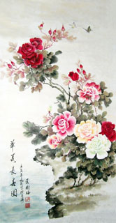 Chinese Rose Painting,70cm x 130cm,2473007-x