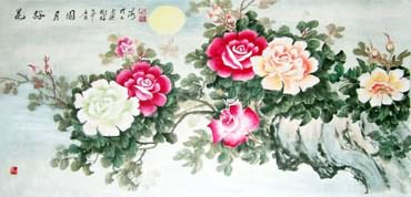 Chinese Rose Painting,70cm x 135cm,2473008-x
