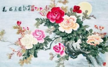 Chinese Rose Painting,70cm x 120cm,2473009-x