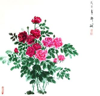 Chinese Rose Painting,69cm x 69cm,2517001-x