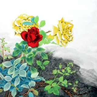 Chinese Rose Painting,66cm x 66cm,2603003-x