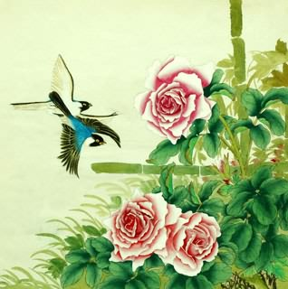 Chinese Rose Painting,69cm x 69cm,2614028-x