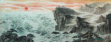 Chinese Sea Painting,120cm x 300cm,1011027-x