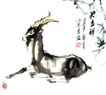 Chinese Sheep Painting,50cm x 50cm,4326010-x