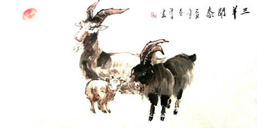Chinese Sheep Painting,50cm x 100cm,4326011-x