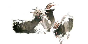 Chinese Sheep Painting,50cm x 100cm,4326012-x