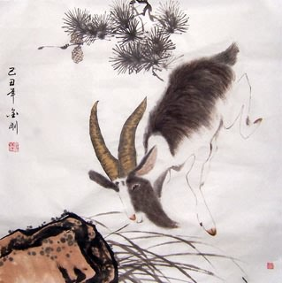Chinese Sheep Painting,66cm x 66cm,4374013-x