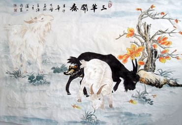 Chinese Sheep Painting,62cm x 92cm,4384002-x
