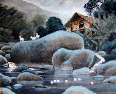 Chinese Sheep Painting,69cm x 69cm,4463001-x