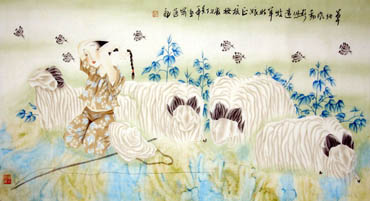Chinese Sheep Painting,66cm x 130cm,4464001-x