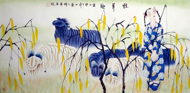 Chinese Sheep Painting,66cm x 130cm,4464002-x