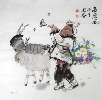 Chinese Sheep Painting,66cm x 66cm,4465002-x