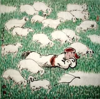 Chinese Sheep Painting,69cm x 69cm,4466001-x