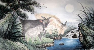 Chinese Sheep Painting,55cm x 100cm,4620007-x
