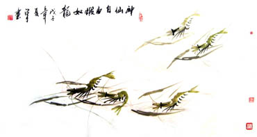 Chinese Shrimp Painting,50cm x 100cm,2326026-x