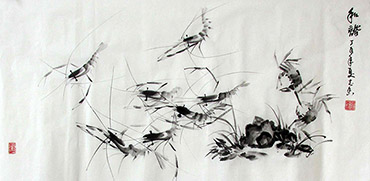 Chinese Shrimp Painting,50cm x 100cm,jzx21080009-x