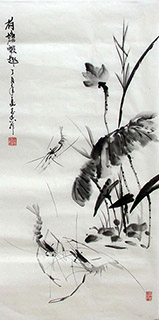 Chinese Shrimp Painting,50cm x 100cm,jzx21080010-x