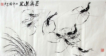 Chinese Shrimp Painting,50cm x 100cm,jzx21080011-x