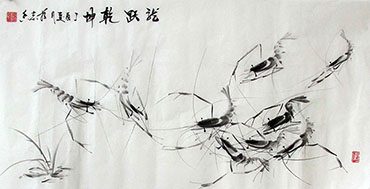 Chinese Shrimp Painting,50cm x 100cm,jzx21080012-x